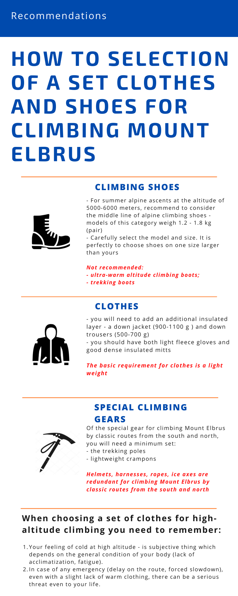 Clothes and footwear for climbing Mount Elbrus