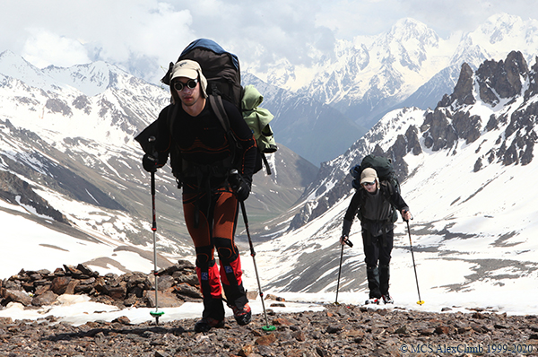 Trekking poles in mountaineering